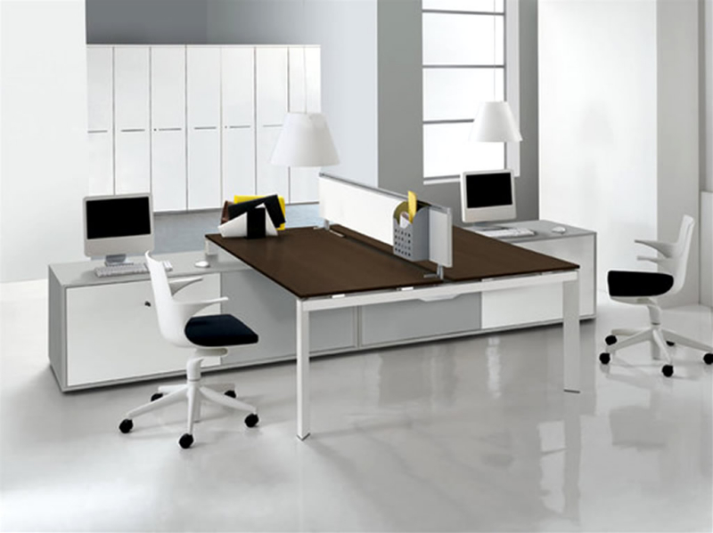 design for office. Modern-office-interior-design-with-double-entity-desk- Design For Office